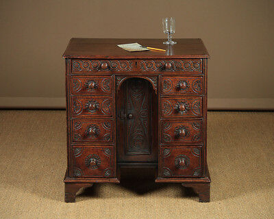 Very Small Antique Carved Oak Kneehole Desk c.1900.