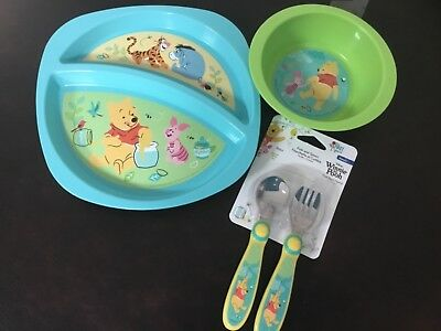 New set/3 First Years Disney Baby WINNIE THE POOH Divided plate Bowl,Fork, Spoon