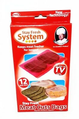Stay Fresh Meat Cuts Bags Keeps Meats Fresher Longer Food Storage Bag 2x Pack