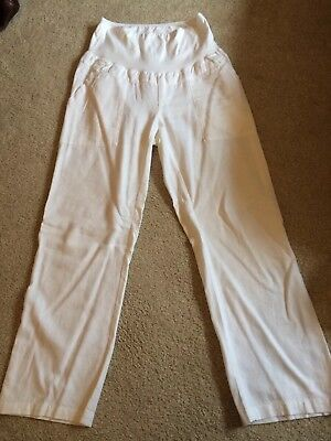 Mothercare Blooming Marvellous Maternity Linen Mix Summer Trousers Size 12