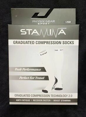 Physic Gear STAMINA  Graduated Compression Socks 1 Pair  L/XL .  WHITE Color