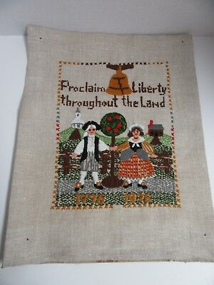 Finished Crewel Embroidery Liberty Sampler 1776 1976 Bicentennial Completed