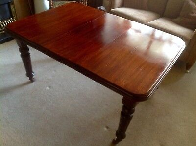 Victorian Mahogany Extendable Dining Table Antique on Casters with Winder