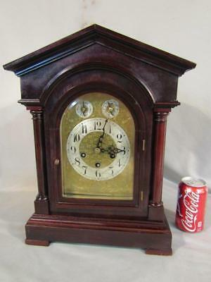 """17"""" Antique Architectural Mantel Clock By Junghans - Westminster Chimes"""