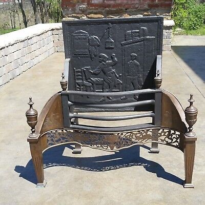 Rare Thomas Elsley English Fireplace Dog Grate Circa 1890's - $1750 Value
