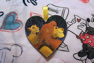 Handmade Disney inspired Wooden hanging heart decoration. The Lion King.