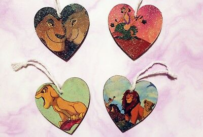 Handmade Disney inspired Wooden heart Christmas Decorations. The Lion King.