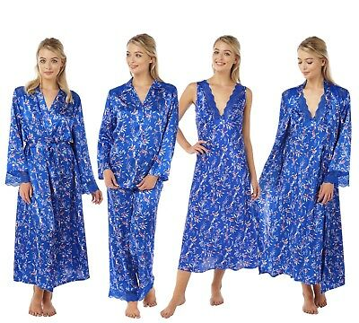 Ladies Blue Long Satin Lace Nightdress Chemise Nightshirt PJ Pyjamas Wrap  Kimono 4310b332b