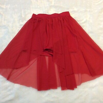 Kelly Organza Skirt Sz Adult M Red Attached Shorts Pull On Dance Theater Hi Low