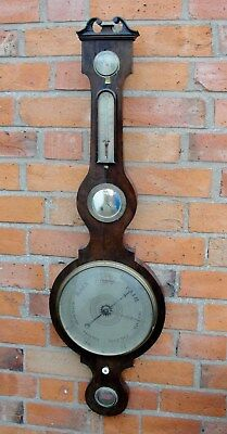 "EARLY 1800s ""GEORGE 111"" BAROMETER with THERMOMER in MAHOGANY CASE in nice condt"