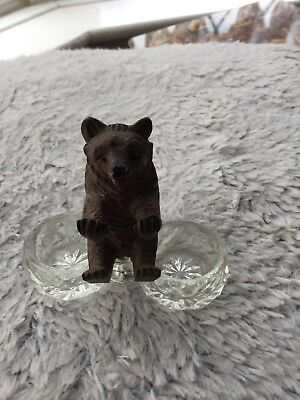 antique victorian Black Forest Carved Wooden Bear Salt Cellers.