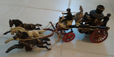 Vintage Cast Iron Horse-Drawn Fire Pumper Truck Pull Toy