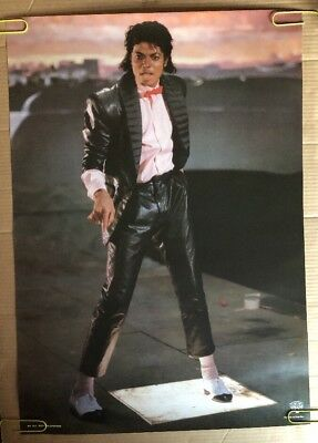 Michael Jackson Original Vintage Poster Billie Jean Pin-Up 1980's Music Pin-up