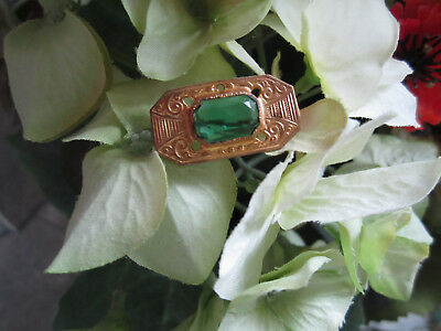 Antique Vintage Emerald Glass Stone Pin Art Nouveau Victorian Brass