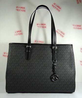 d8d8a93ac85a ... order michael kors jet set travel large east west mk signature tote bag  in black da8b5