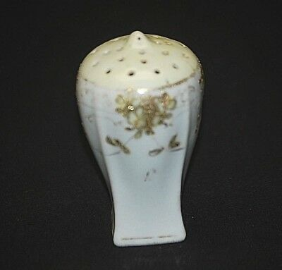 Old Vintage Porcelain Single Salt or Pepper Shaker White & Custard w Gold Trim