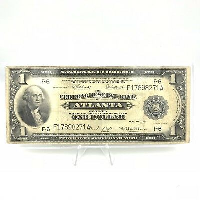 1914 $1 One Dollar Federal Reserve Bank Of Atlanta Large Note