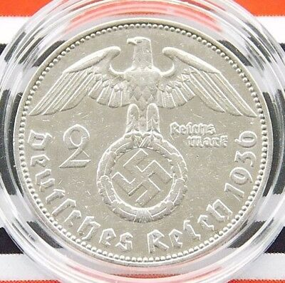 GERMAN Coin 1936 J 2 MARK Reichsmark SWASTIKA Hindenburg Silver 3RD WW2 +RARE+