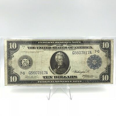 * 1914 $10 - FRN 928 Federal Reserve Large Note - CHICAGO - Burke / McAdoo