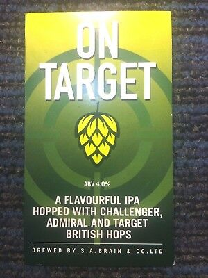 On Target Beer Pump Clip:Brains Craft Brewery Cardiff Wales Incl Admiral Hops