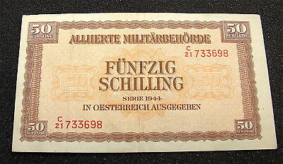 WW2 ~~1943 Austria Allied Military Currency Note---50 Schillings