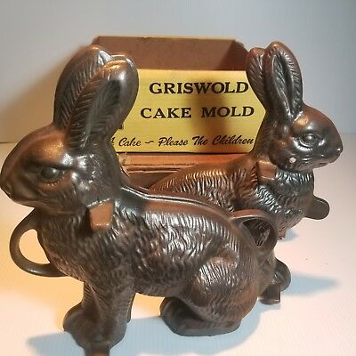 Vintage Griswold Cast Iron Bunny Rabbit Cake Mold # 862 & 863 With ORIGINAL BOX!