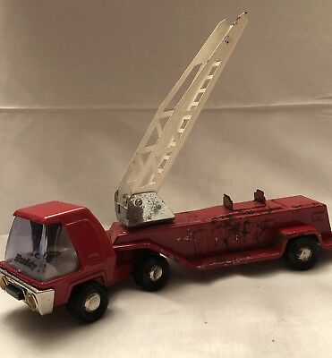 Vintage 1960's Red Metal Buddy L Hook and Ladder Fire Truck