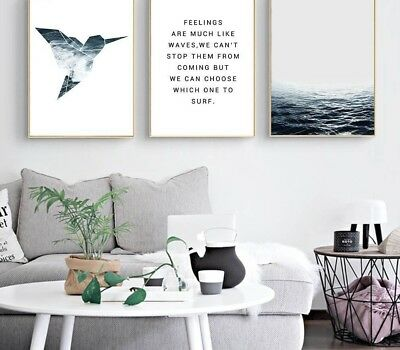 Wall Art Canvas Nordic Tropical Sea Bird Motivation Poster Prints Painting Decor