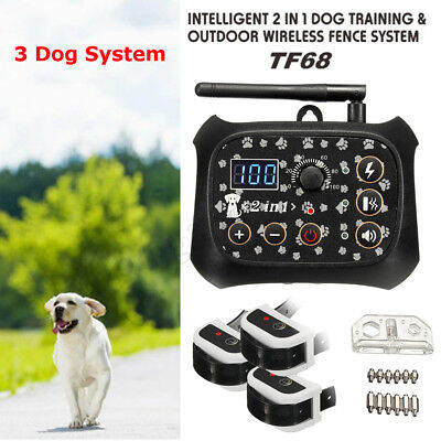 Electric Wireless Dog Fence Pet 1/2/3 Containment System Transmitter Collar US