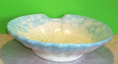 Large Clam Shell Pottery Bowl/Dish Blue/White Pottery W/Speckled Glaze Vtg.