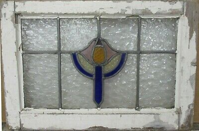 "MID SIZED OLD ENGLISH LEADED STAINED GLASS WINDOW Pretty Abstract 24.25"" x 16.5"""
