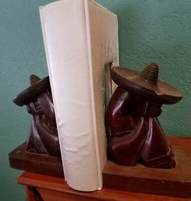 Antique Pair Of Rare Hand Carved Solid Mahogany Book Ends Puerto Rico