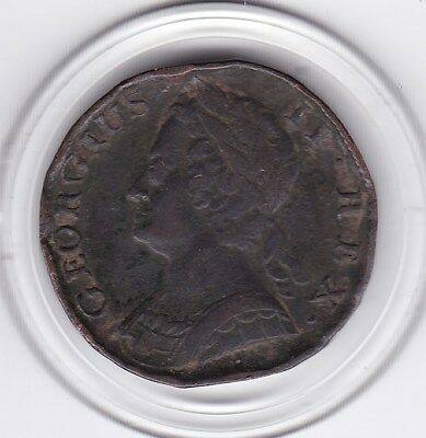1742   King  George  II   Half  Penny   Copper  Coin