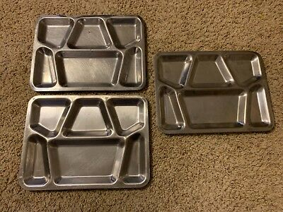 3 VINTAGE Military Mess Hall Cafeteria Trays Stainless Steel Metal