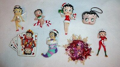 Lot of 8 Betty Boop Christmas Ornaments Stocking Angel Playing Card