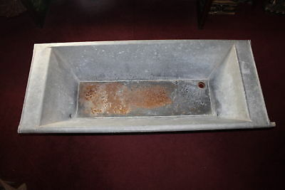 Antique Budapest Hungary Galvanized Metal Sink Basin Tub-Architectural Garden