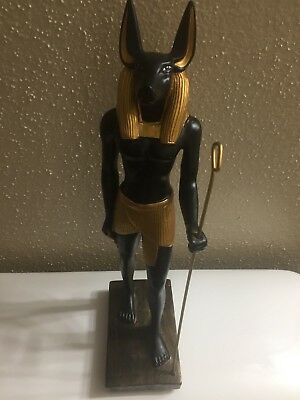 Large Antique Statue of Ancient Egyptian God ANUBIS Mummification Collectible