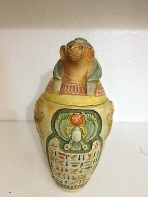 Large Antique Egyptian Ancient Canopic Jar Organs Storage Hapy the baboon-head