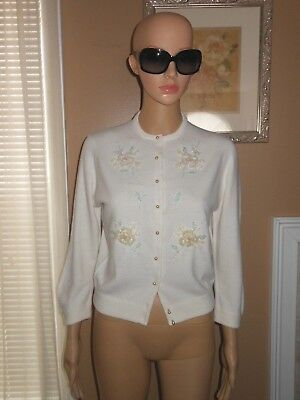 Vintage 60s Sidney Gould PinUp White Orlon Floral Beaded Cardigan Sweater S