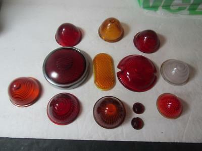 LOT of Vtg Red Glass Bullet Marker Lights Lens Cover Turn Signal Bee Hive Amber