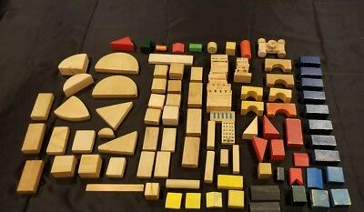 HUGE LOT 110 Antique Vintage Toy Wood Building Blocks Variety of Styles
