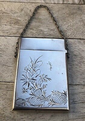 Antique Etched English Sterling Silver Calling Card / Business Card Case Purse