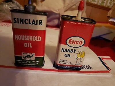 LOT OF 2 1950s ENCO GASOLINE AND OIL GENERAL/STORE ADVERTISING MATEL SIGN