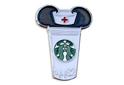Nurse Starbucks Cup Pin, Disney Starbucks, Disney pins, nurse pins