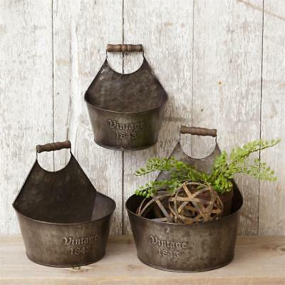 FARMHOUSE VINTAGE 1843 Wall Basket Caddies Buckets Bins Set of 3 Vintage Style