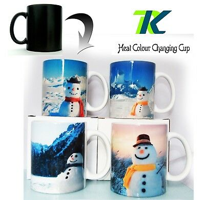 SNOWMAN CHRISTMAS CUP great coffee mug tea Magic Color Changing Heat tea Cup