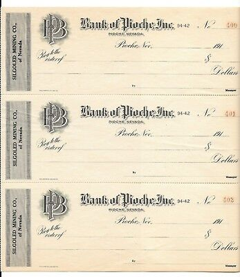 1910-19 [3] Consecutive Checks From Bank Of Pioche Nv With Stubs