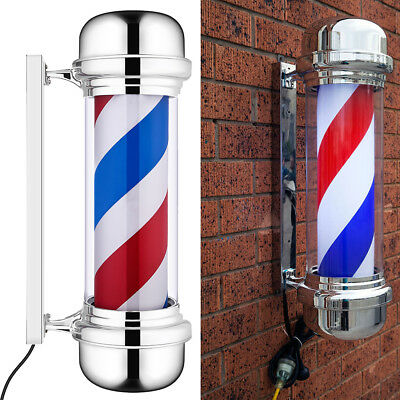 Blue Red White LED Barber Pole Illuminated Rotating Salon Sign Light 70cm Large