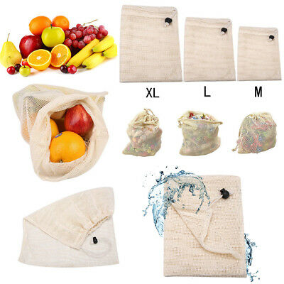 ECO Reusable Cotton Mesh Produce Bags Grocery Fruit Storage Shopping String Bags