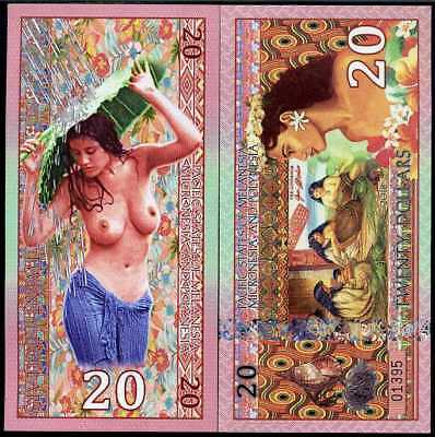 PACIFIC STATES of MMP 20 DOLLARS POLYNESIAN BEAUTIFUL LADY POLYMER 2018